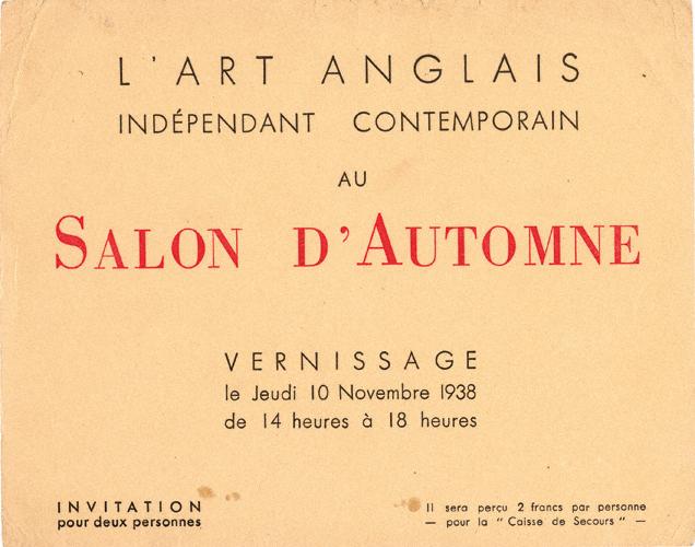 Invite for Salon d'Automne, 10 November 1938
